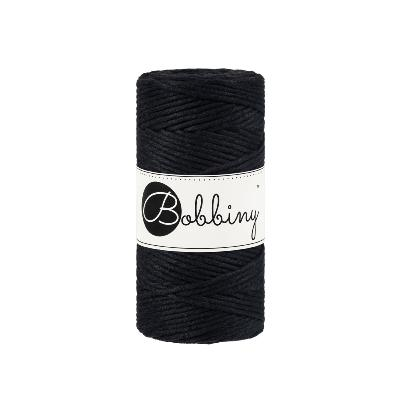 Bobbiny coton Simple torsion : Noir -3mm (100m)