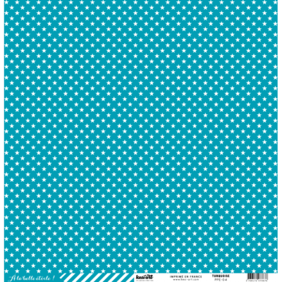 CARDSTOCK ÉTOILE - RAYURE TURQUOISE