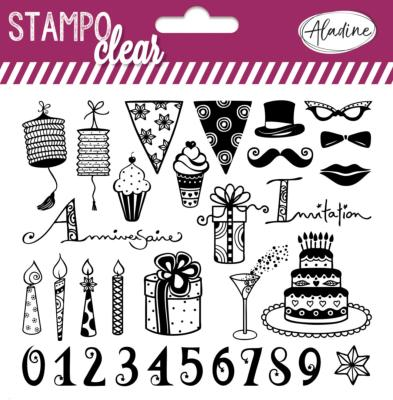 STAMPO CLEAR - TAMPONS TRANSPARENTS - ANNIVERSAIRE